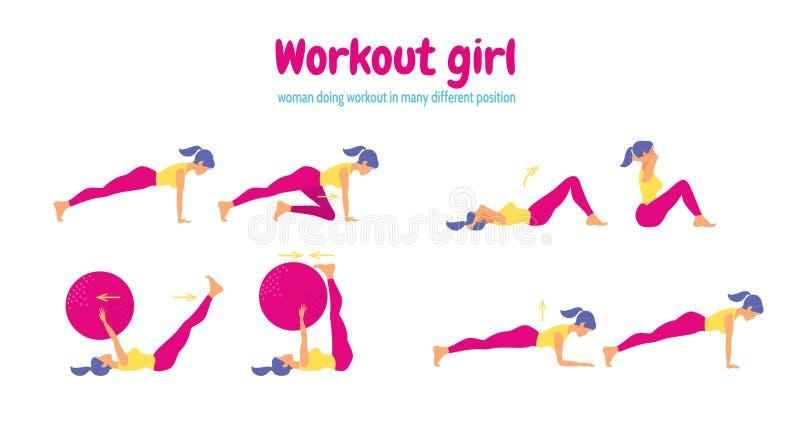 Entrenamiento para las mujeres Sistema de iconos del gimnasio en estilo plano libre illustration
