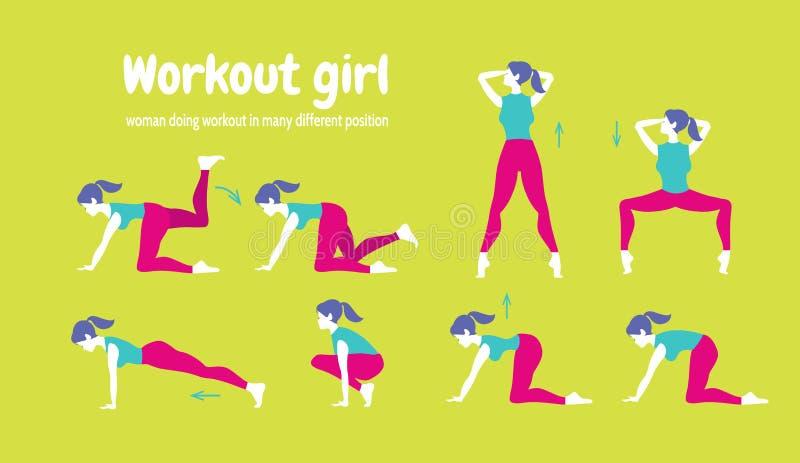 Entrenamiento para las mujeres Sistema de iconos del gimnasio en estilo plano aislados en GR stock de ilustración
