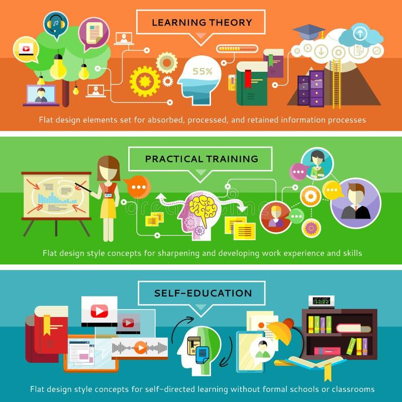 Entrenamiento práctico, aprendiendo teoría, Selfeducation stock de ilustración