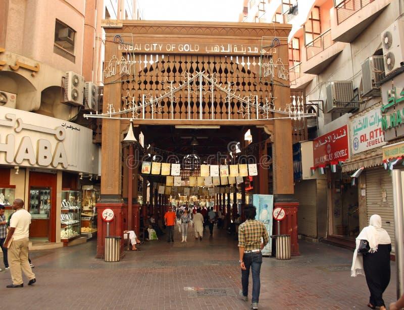 Entrence del souk del oro (mercado) en Dubai imagen de archivo