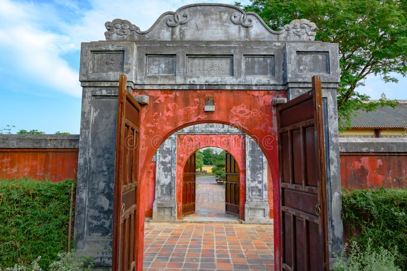 Ancient entrance gates to the Citadel. Imperial City Hue, Vietnam, in the Forbidden City of Hue. royalty free stock photo