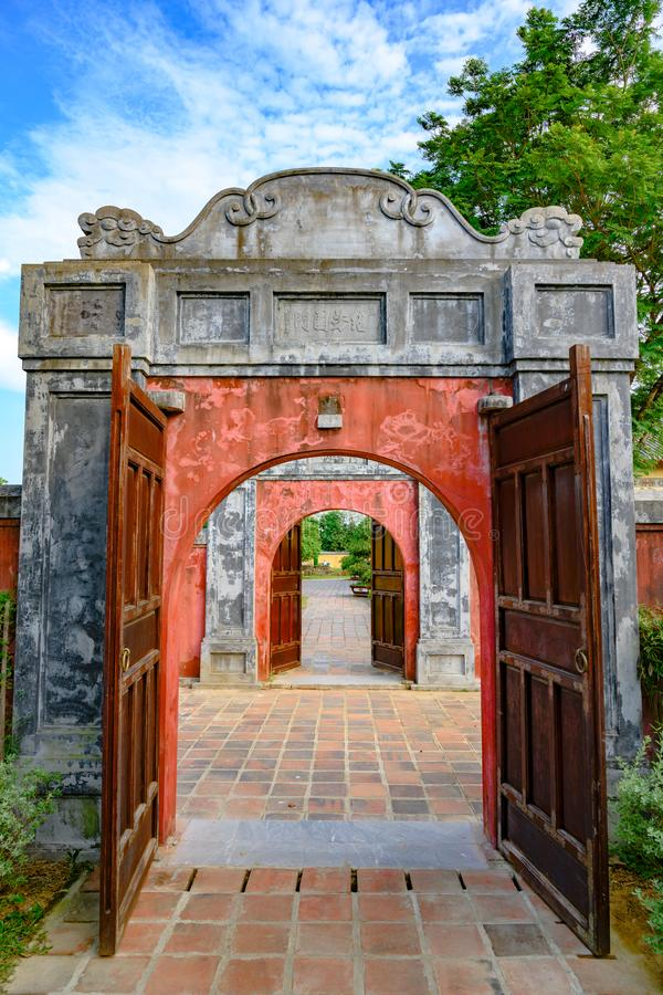 Ancient entrance gates with red doors to the Citadel. Imperial City Hue, in the Forbidden City of Hue. stock image