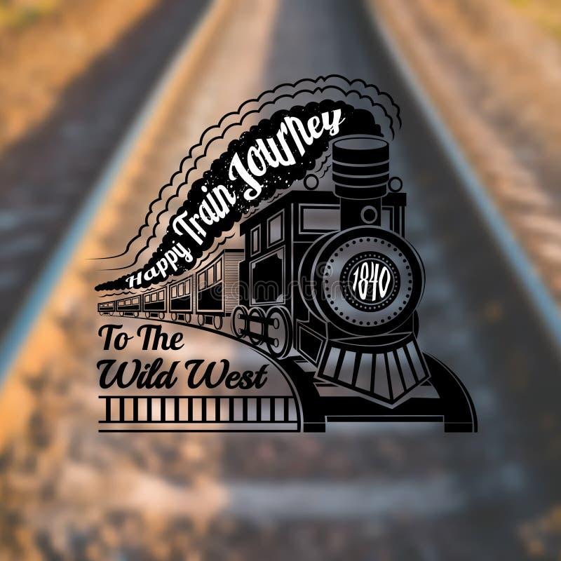 Entrene al fondo con la locomotora vieja con los carros y viaje de tren feliz del texto en etiqueta del humo en la foto de la fal ilustración del vector