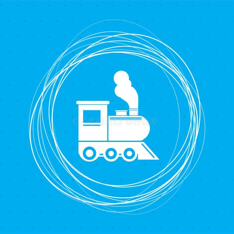 Entrene al viejo icono locomotor clásico del motor de vapor en un fondo azul con los círculos abstractos alrededor y coloqúelo pa libre illustration