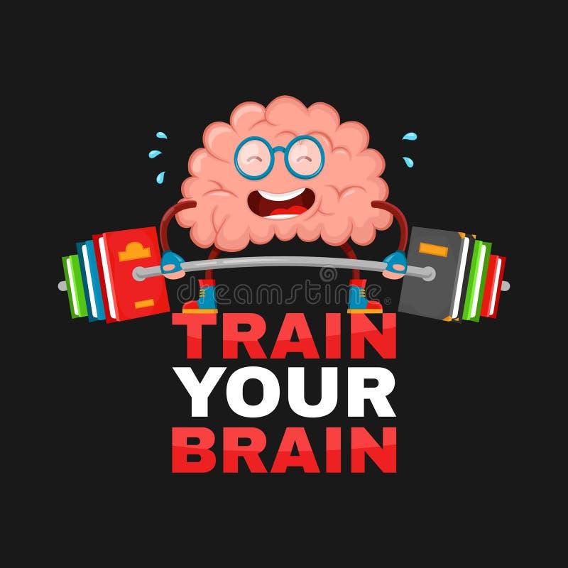Entrene a su cerebro diseño creativo del ejemplo de la historieta del vector del cerebro del carácter plano de la diversión la ed stock de ilustración