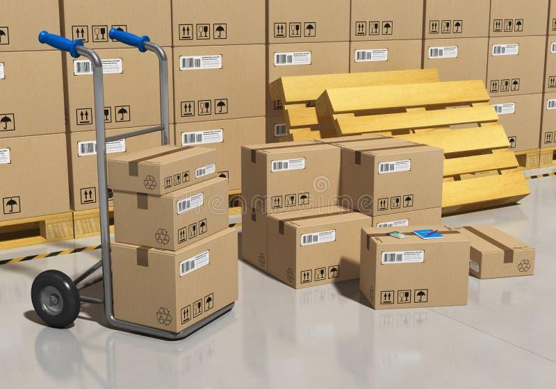 Entrepôt de mémoire avec les marchandises emballées illustration stock