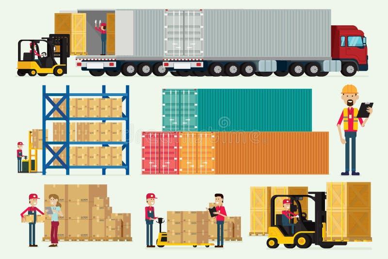 Entrepôt logistique avec les travailleurs camion de stockage et la cargaison de chariot élévateur illustration libre de droits