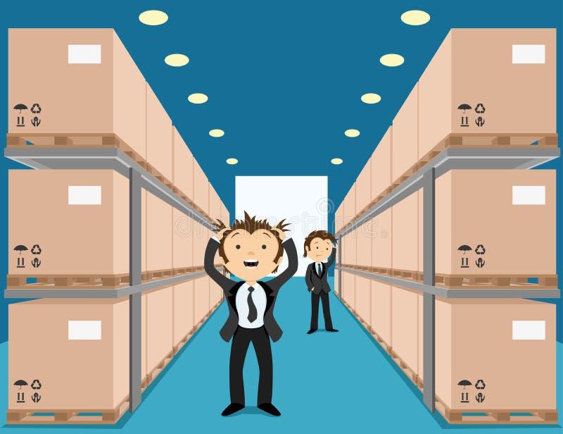 Entrepôt avec des boîtes illustration de vecteur