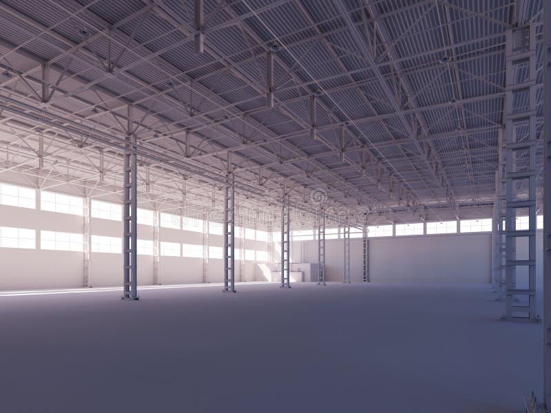 Entrepôt blanc vide contemporain illuminé par l'illustration 3d intérieure de lumière du soleil illustration stock