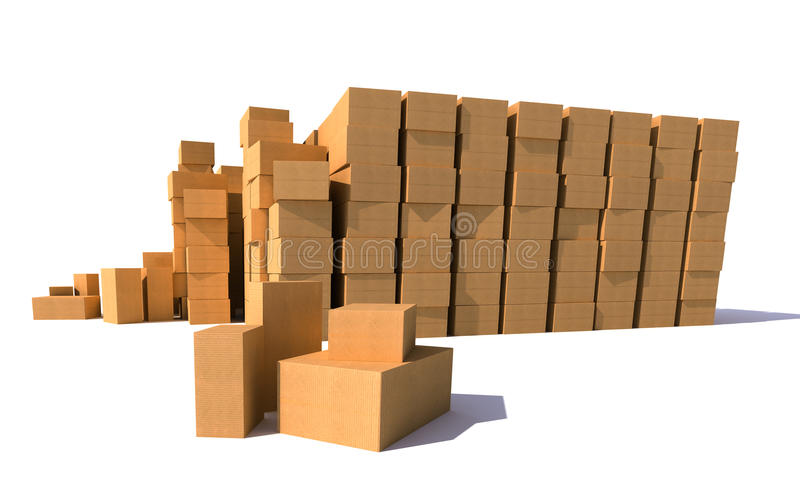 Entrepôt de boîtes en carton illustration de vecteur