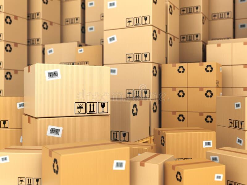 Entrepôt ou concept de la livraison Fond de boîtes en carton images libres de droits