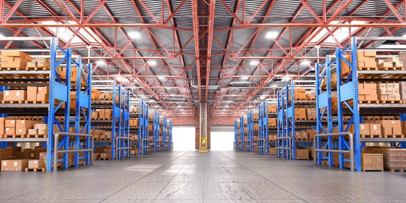 Entrepôt vide complètement de cargaison illustration de vecteur