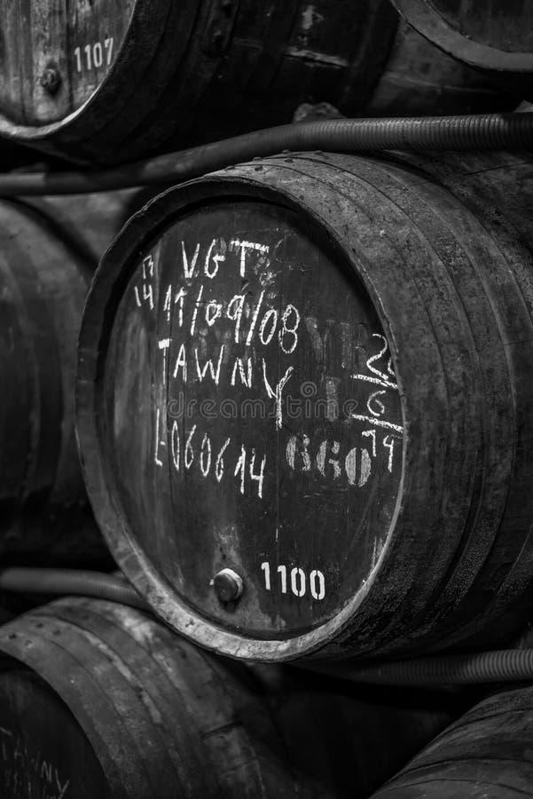 Entreposage en tonneau dans un celler de vin images libres de droits