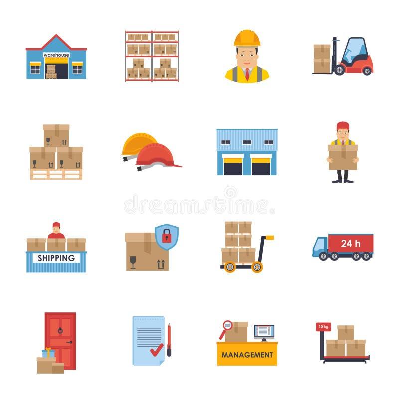 Entreposage et ensemble logistique et de la livraison d'icônes de vecteur illustration stock