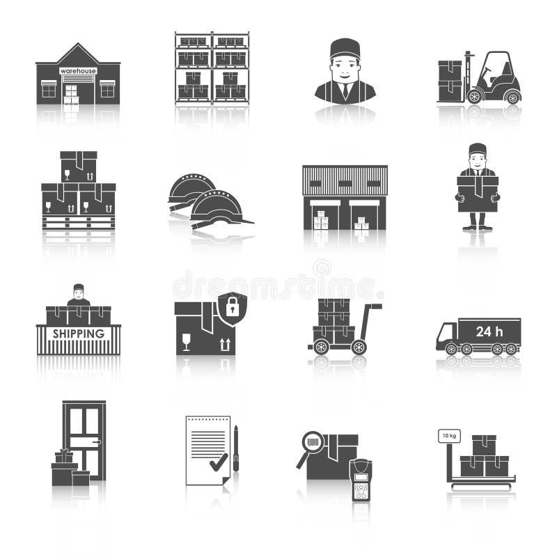 Entreposage et ensemble logistique et de la livraison d'icônes de vecteur illustration libre de droits