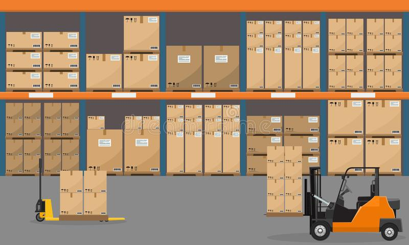 Entreposez l'intérieur avec des marchandises, des camions de palette et des boîtes de paquet de récipient Vecteur plat illustration de vecteur