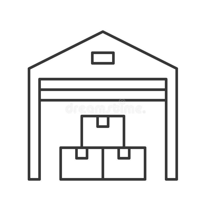 Entreposez la ligne icône, livraison et connexe logistique illustration libre de droits