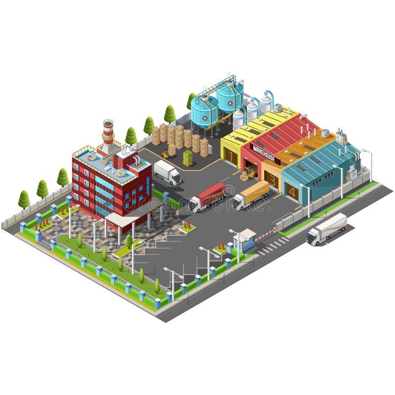 Entreposez la zone industrielle avec l'allocation des places pour charger et décharger illustration stock