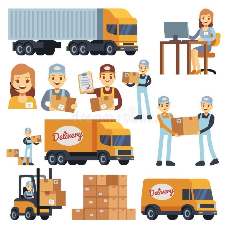 Entreposez les caractères de vecteur de bande dessinée de travailleurs - chargeur, livreur, messager et opérateur illustration libre de droits