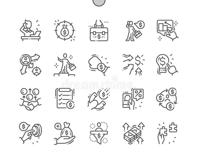 Entreprenör Brunn-tillverkad linje symboler för perfekt vektor för PIXEL tunn vektor illustrationer