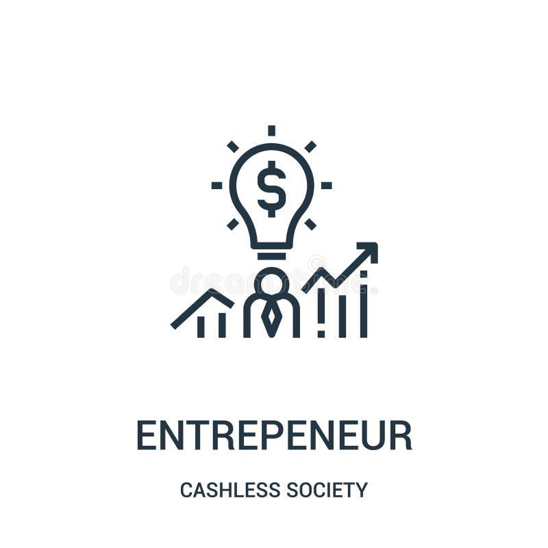 entreprenörsymbolsvektor från cashless samhällesamling Tunn linje illustration för vektor för entreprenöröversiktssymbol royaltyfri illustrationer