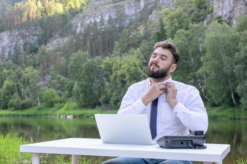 Entrepreneur able to satisfy himself, made a good deal. Portrait of successful businessman. success, leadership concept stock image