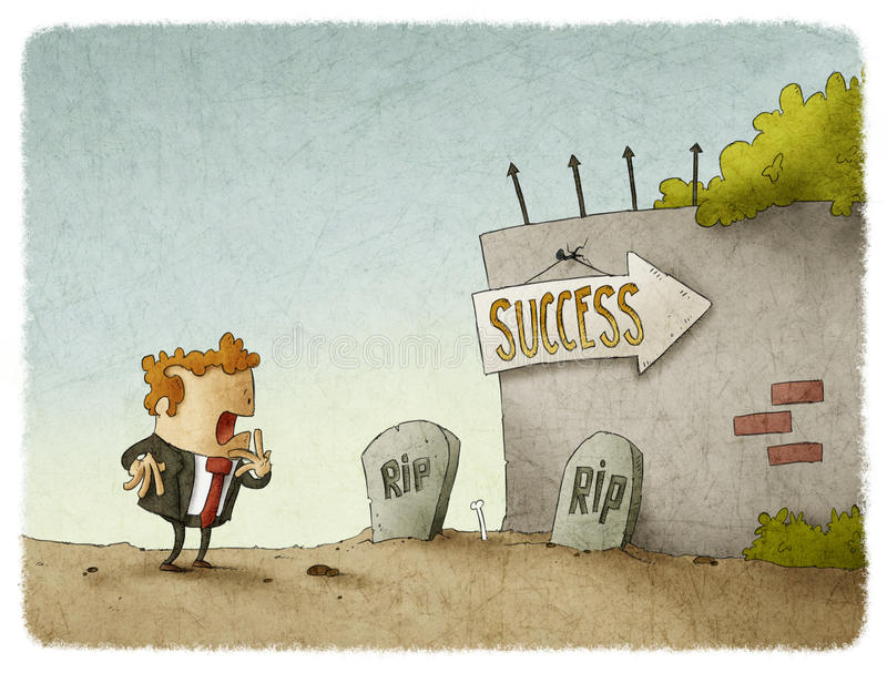 Entrepreneur adventure. Entrepreneur sees risks to success vector illustration