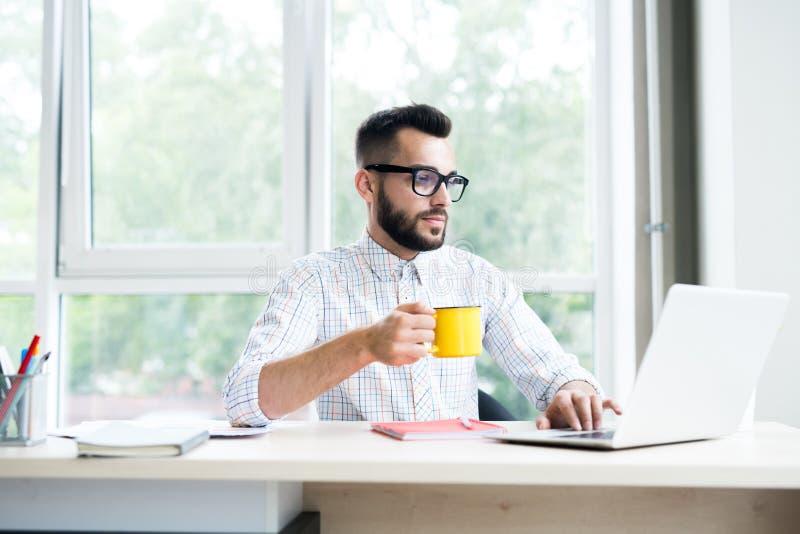 Entrepreneur bel Working dans le bureau image stock