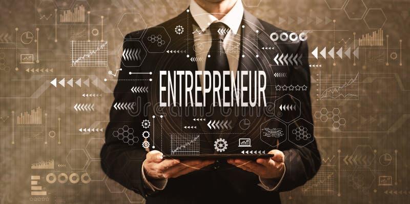 Entrepreneur with businessman holding a tablet computer stock illustration