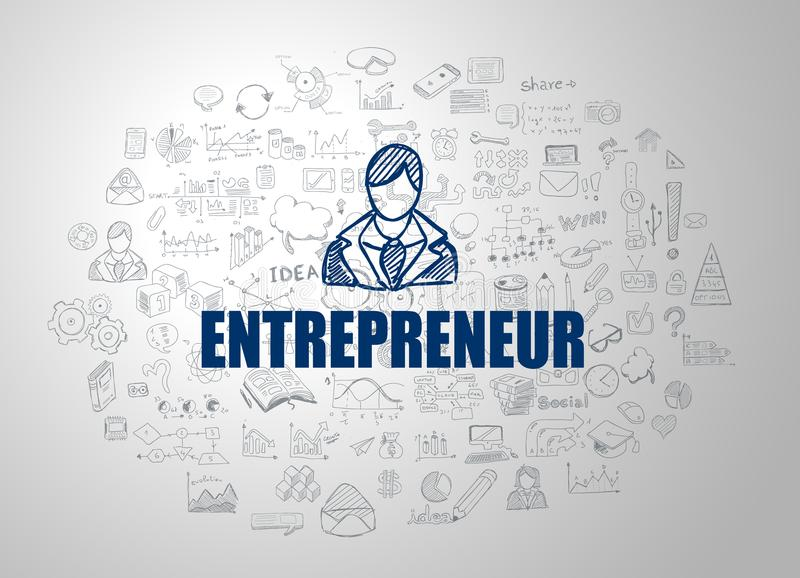 Entrepreneur concept with Business Doodle design style. Online courses, sales and offers, best practice vector illustration