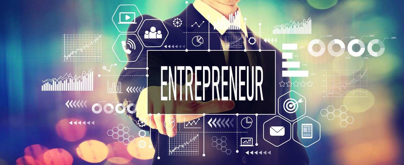 Entrepreneur concept with a businessman royalty free stock photos
