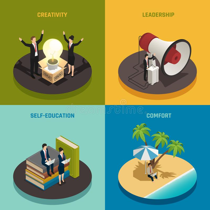 Entrepreneur Isometric Design Concept. Entrepreneur concept with creativity leadership self education and comfort isometric design isolated vector illustration royalty free illustration
