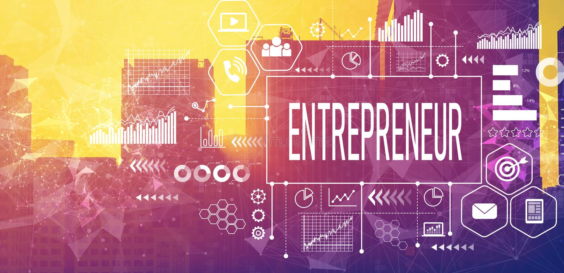 Entrepreneur concept with downtown San Francisco stock photo