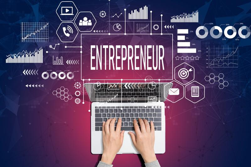 Entrepreneur concept with person using laptop royalty free stock images