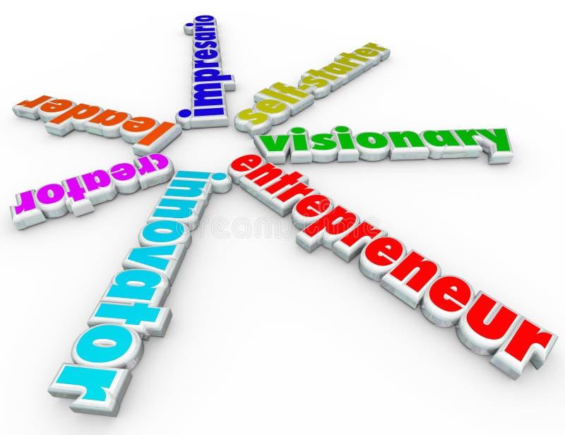 Entrepreneur 3d Words Business Person Start Company Venture. Entrepreneur 3d words including innovator, creator, leader, impresario, self-starter and visionary stock illustration