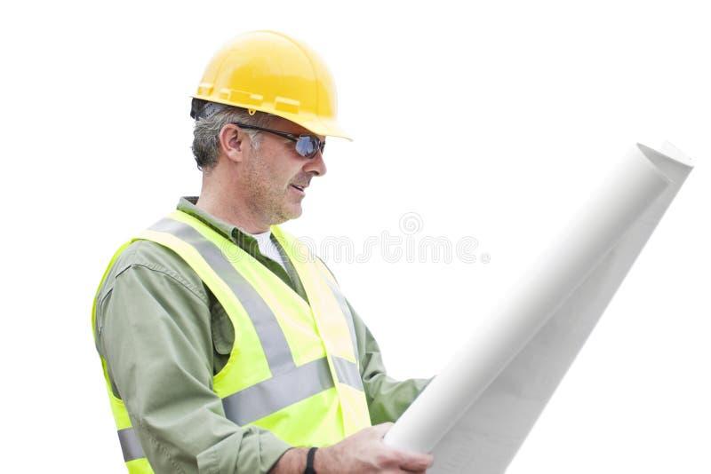 Entrepreneur de construction d'isolement sur le blanc image libre de droits