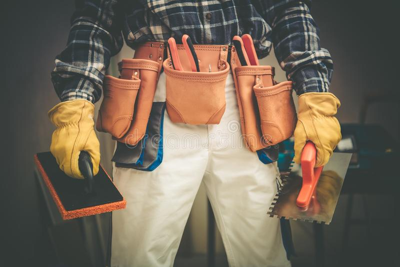Entrepreneur de construction en service photographie stock