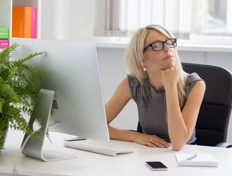 Entrepreneur dreaming about her business success stock photos