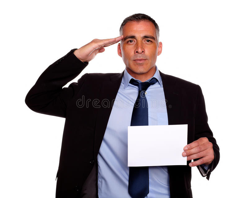 Download Entrepreneur Greeting And Holding A White Card Stock Image - Image of boss, adult: 24877399