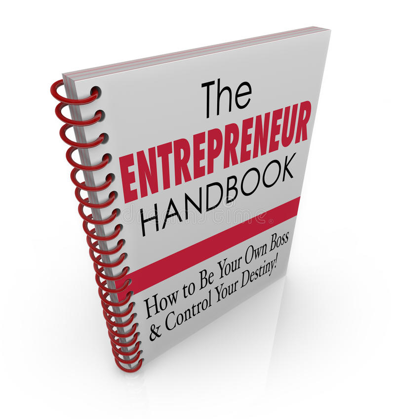Entrepreneur Handbook Learn Advice Skills. The Entrepreneur Handbook to illustrate skills, knowledge, learning, advice and helpful information on owning your own stock illustration
