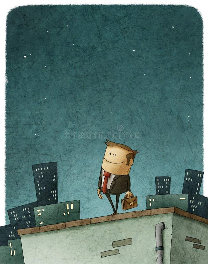 Entrepreneur hero. Illustration of entrepreneur hero in top of roof vector illustration