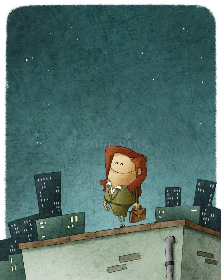 Entrepreneur heroine. Illustration of an entrepreneur heroine in the top of roof royalty free illustration