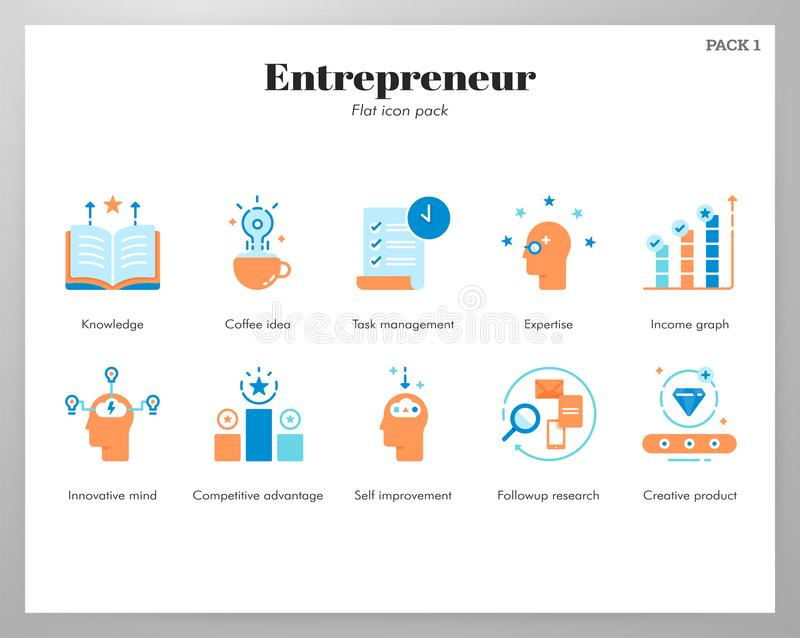 Entrepreneur icons flat pack royalty free illustration