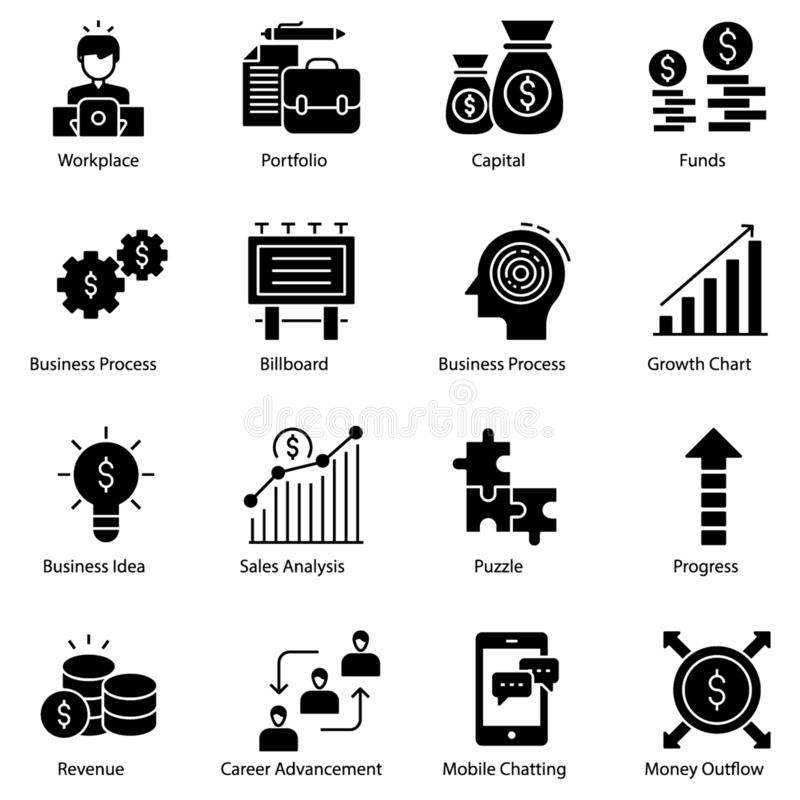 Entrepreneur Icons Pack. In filled design is here. All icons are highly customized to meet your needs. Completely editable and easy to download royalty free illustration