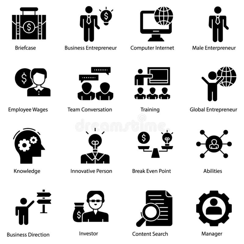Entrepreneur Icons Set vector illustration