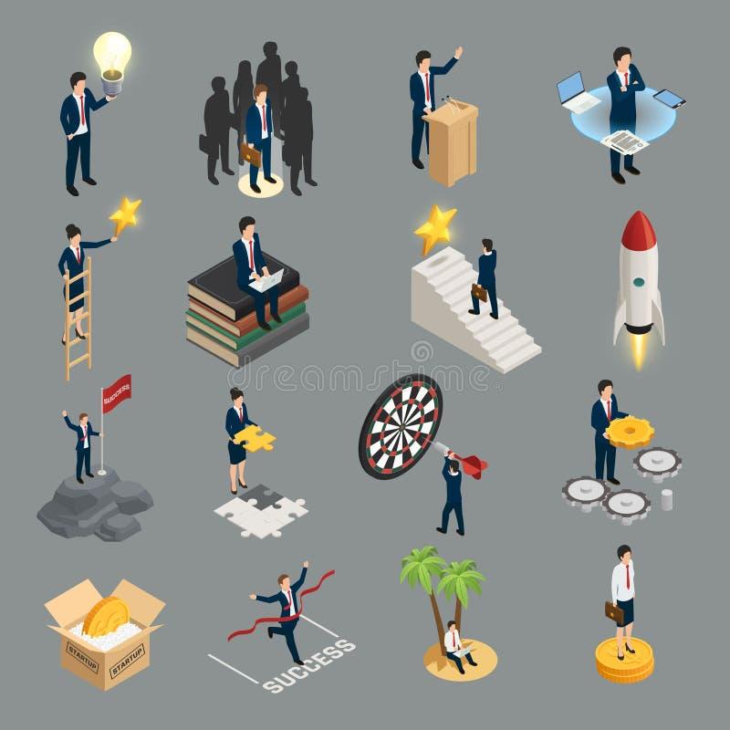 Entrepreneur Isometric Icons. Creative idea sociality purposefulness self education and success isolated on grey background vector illustration vector illustration