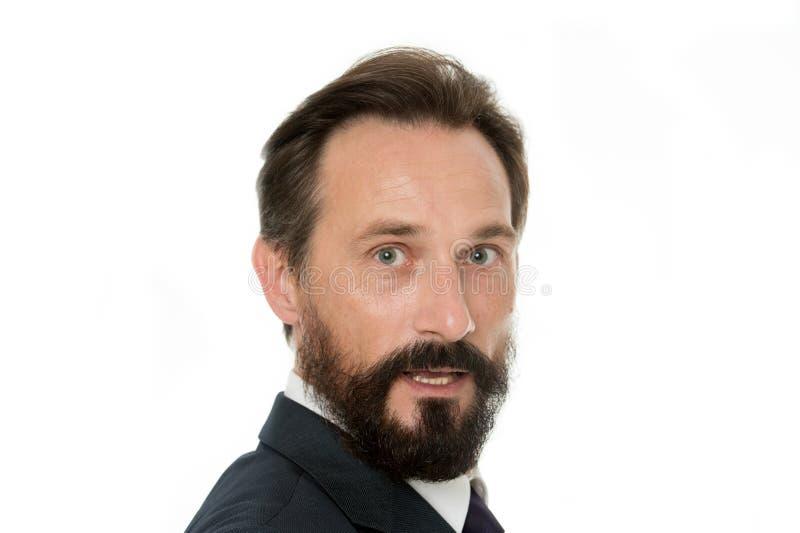 Entrepreneur mûr et expérimenté Visage masculin avec haut étroit de barbe et de moustache Gens d'affaires de code vestimentaire B photographie stock libre de droits