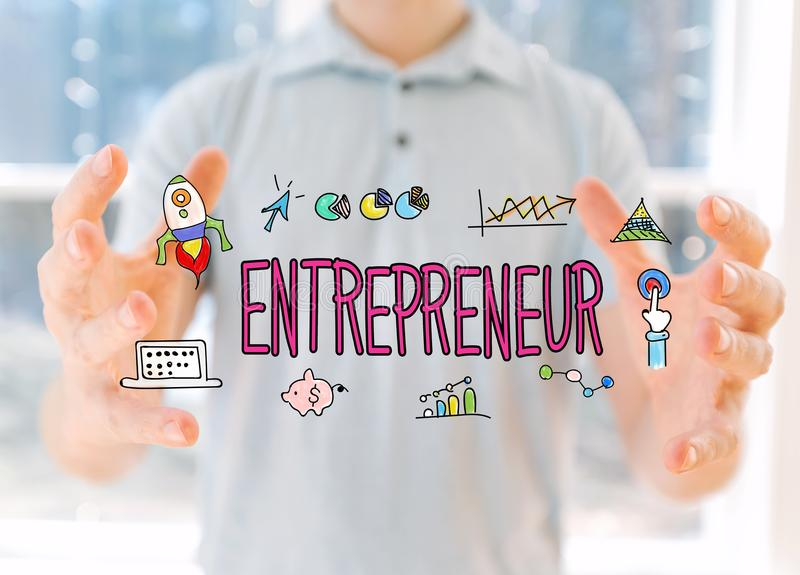 Entrepreneur with man holding his hands stock image