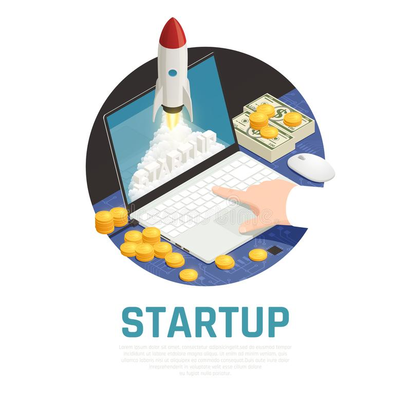 Entrepreneur Start Up Isometric Composition. Entrepreneur with money during start up project on laptop isometric round composition vector illustration vector illustration