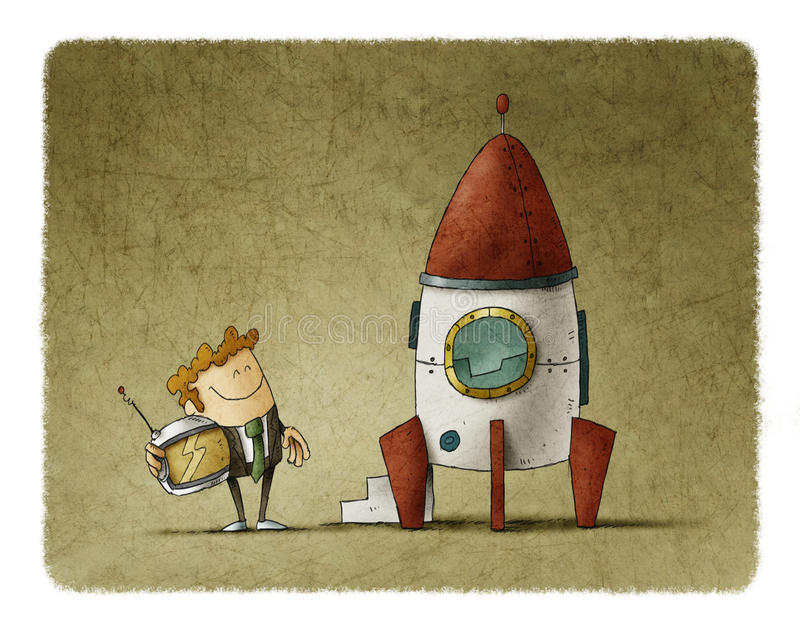 Entrepreneur next to a rocket is waiting for launch. Entrepreneur next to a rocket is waiting with a helmet in his hand vector illustration